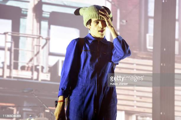Matthew Healy of The 1975 performs on Coachella Stage during the 2019 Coachella Valley Music And Arts Festival on April 12 2019 in Indio California