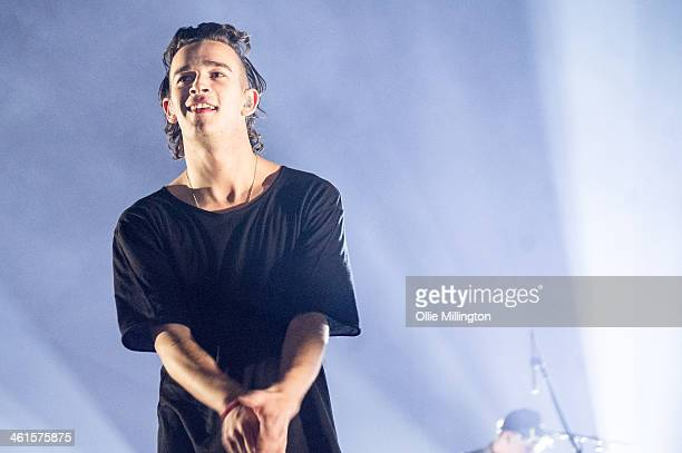 Matthew Healy of The 1975 performs on stage at Brixton Academy on January 9 2014 in London United Kingdom