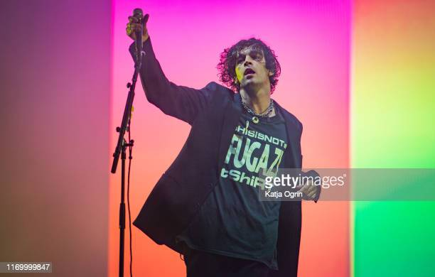 Matthew Healy of The 1975 performs on stage during Leeds Festival 2019 at Bramham Park on August 24 2019 in Leeds England