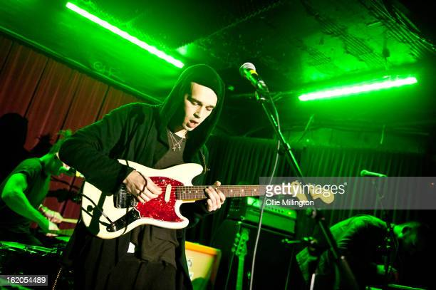 Matthew Healy of The 1975 performs onstage during the last night of the band's February 2012 UK tour at The Borderline on February 18 2013 in London...