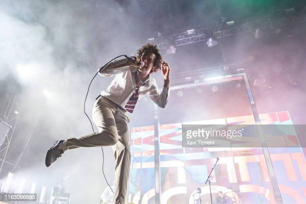 Matthew Healy of the band The 1975 performs in concert during the Festival Internacional de Benicassim on July 19 2019 in Benicassim Spain