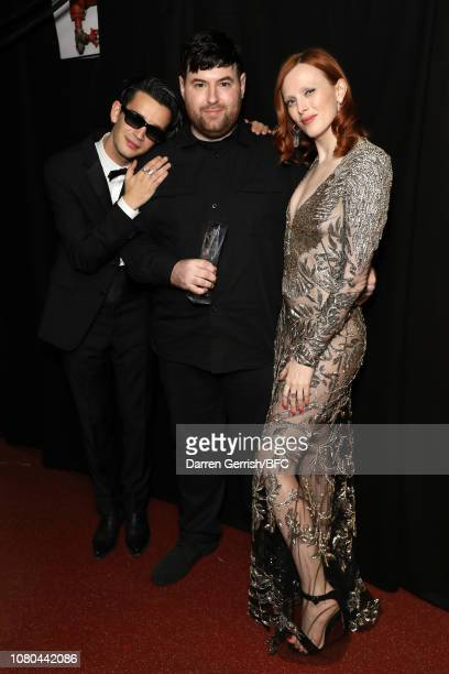 Matthew Healy Richard Quinn and Karen Elson backstage during The Fashion Awards 2018 In Partnership With Swarovski at Royal Albert Hall on December...
