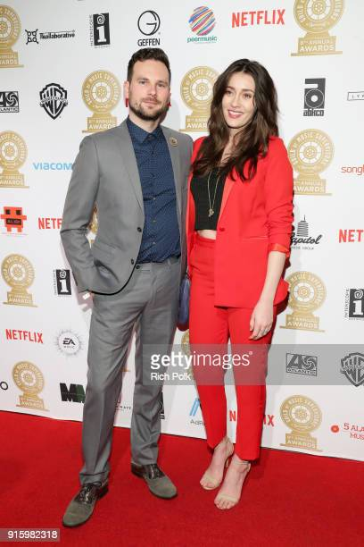 Matthew HearonSmith and Ashley Hearon Smith attend the 8th Annual Guild of Music Supervisors Awards at The Theatre at Ace Hotel on February 8 2018 in...