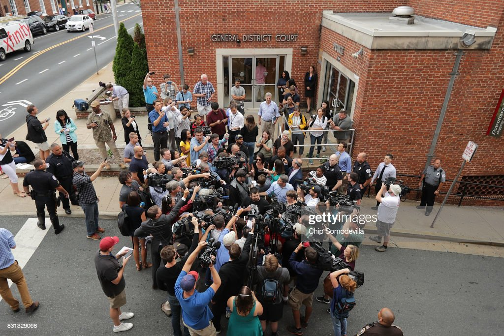 Court Hearing For James Alex Fields, Suspect Who Drove Car Into Group Of Activists Protesting After White Supremacists Rally : News Photo
