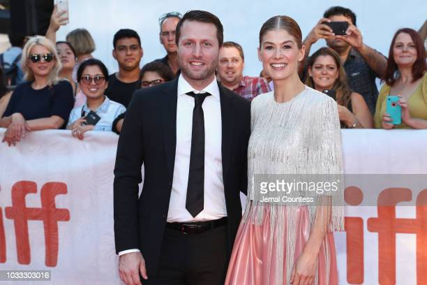 Matthew Heineman and Rosamund Pike attend the A Private War premiere during 2018 Toronto International Film Festival at Roy Thomson Hall on September...