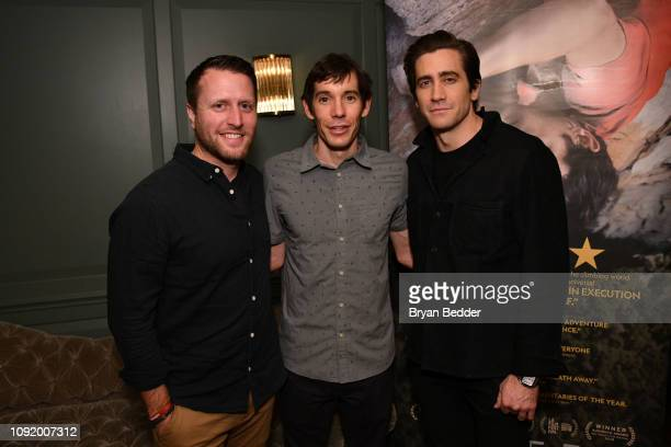Matthew Heineman featured Free Soloist Alex Honnold and actor Jake Gyllenhaal attend a special screening of National Geographic Films 'Free Solo' on...