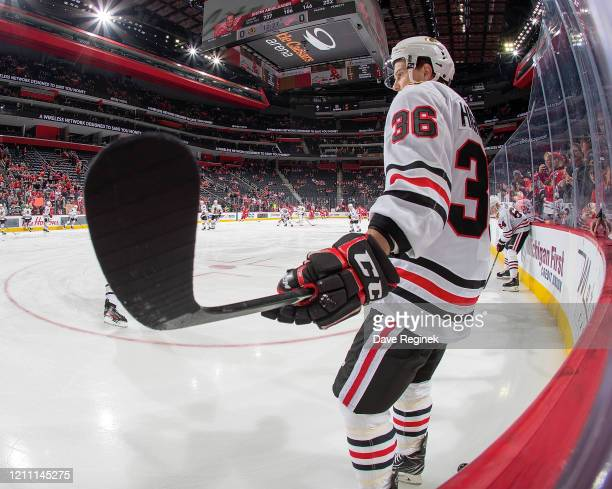 Matthew Highmore of the Chicago Blackhawks skates in warm-ups prior to an NHL game against the Detroit Red Wings at Little Caesars Arena on March 6,...