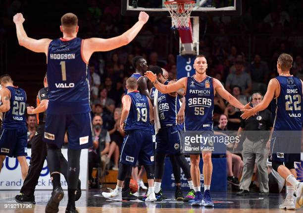 Matthew Hodgson of the Adelaide 36ers and Mitch Creek of the Adelaide 36ers celebrate during the round 19 NBL match between the Adelaide 36ers and...
