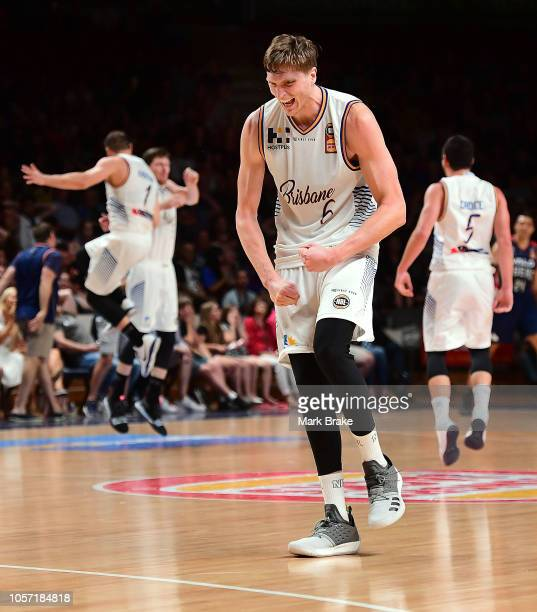 Matthew Hodgson of the Bullets celebrates Cameron Gladden of the Bullets three pointer to win the game during the round four NBL match between the...