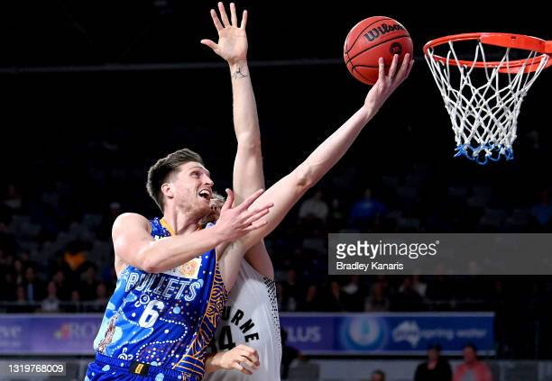 Matthew Hodgson of the Bullets scores a basket during the round 19 NBL match between the Brisbane Bullets and Melbourne United at Nissan Arena, on...