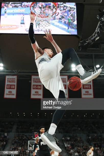 Matthew Hodgson of the Bullets slam dunks during the round eight NBL match between Melbourne United and the Brisbane Bullets at Hisense Arena on...