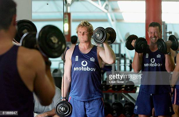 Matthew Hoggard and Ashley Giles of England in the gym during a training session ahead of the second Test Match between South Africa and England in...