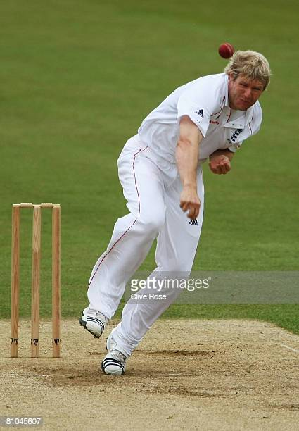 Matthew Hoggard of England bowls during day three of the match between the England Lions and New Zealand at The Rose Bowl on May 10 2008 in...