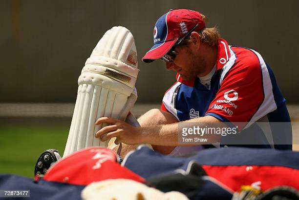 Matthew Hoggard of England puts on his pads during the England nets session at the Melbourne Cricket Ground on December 24 2006 in Melbourne Australia