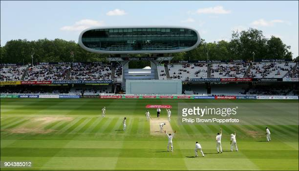 Matthew Hoggard of England traps Bangladesh batsman Aftab Ahmed LBW during the 1st Test match between England and Bangladesh at Lord's Cricket Ground...