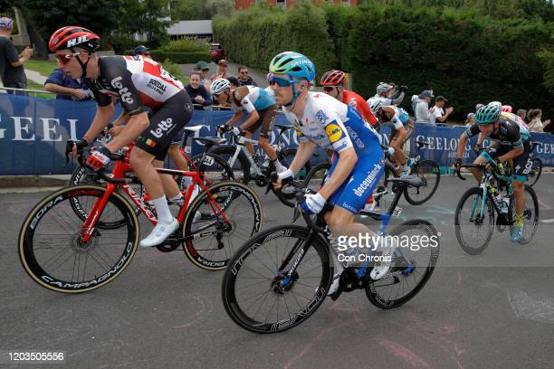 Matthew Holmes of The United Kingdom and Team Lotto-Soudal / Dries Devenyns of Belgium and Team Deceuninck - Quick-Step / Peloton / during the 6th...