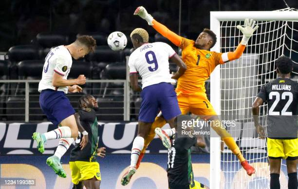 Matthew Hoppe of the United States heads in the winning goal past Andre Blake of Jamaica in the second half of a 2021 CONCACAF Gold Cup Quarterfinals...