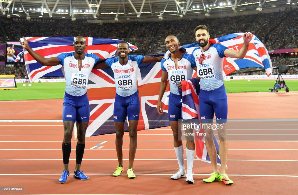 Matthew Hudson-Smith, Dwayne Cowan, Rabah Yousif and Martyn Rooney of Great Britain celebrate after winning bronze in the Men's 4x400 Metres Relay final during day ten of the 16th IAAF World Athletics Championships at the London Stadium on August 13, 2017 in London, United Kingdom.