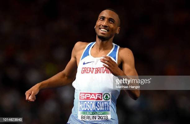 Matthew Hudson-Smith of Great Britain celebrates as he crosses the finish line to win Gold in the Men's 400m Final during day four of the 24th...