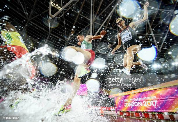 Matthew Hughes of Canada takes the water jump as he competes in the Men's 3000 metres Steeplechase final during day five of the 16th IAAF World...
