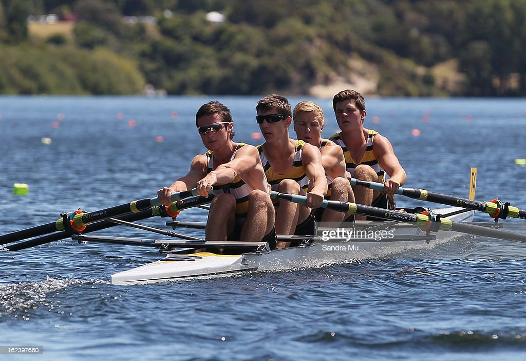 Matthew Husband-Dravitzki, Will Guest, Alex Hargreaves and Cameron Bartley of St Pauls race in the Boys U18 coxes four during the New Zealand Junior Rowing Regatta on February 23, 2013 in Auckland, New Zealand.