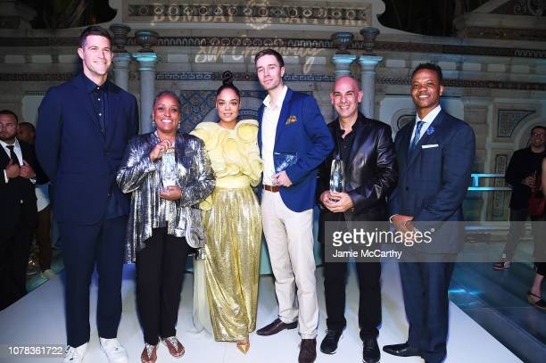 Matthew Israel Judy McReynoldsBowman Tessa Thompson Erik Nieminen JMargulis and Andre Guichard appear onstage at the 9th Annual Bombay Sapphire...