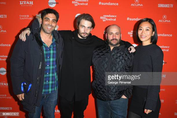 Matthew J Malek Sam Levinson Aaron Gilbert and Anita Gou attend the 'Assassination Nation' Premiere during the 2018 Sundance Film Festival at Park...