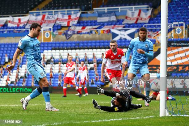 Matthew James of Coventry City scores their team's fifth goal during the Sky Bet Championship match between Coventry City and Millwall at St Andrew's...