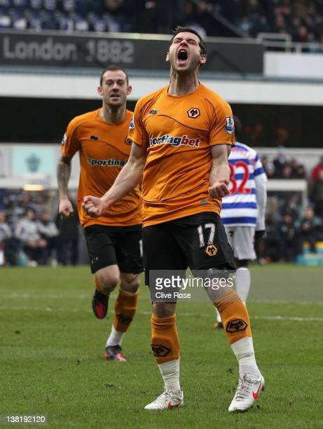 Matthew Jarvis of Wolverhampton Wanderers celebrates scoring the equalising goal during the Barclays Premier League match between Queens Park Rangers...