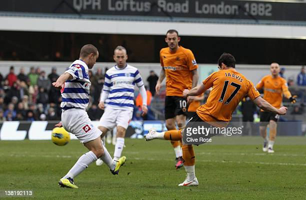 Matthew Jarvis of Wolverhampton Wanderers scores the equalising goal during the Barclays Premier League match between Queens Park Rangers and...
