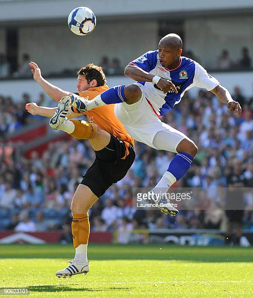 Matthew Jarvis of Wolves battles with ElHadji Diouf of Blackburn Rovers during the Barclays Premier League match between Blackburn Rovers and...