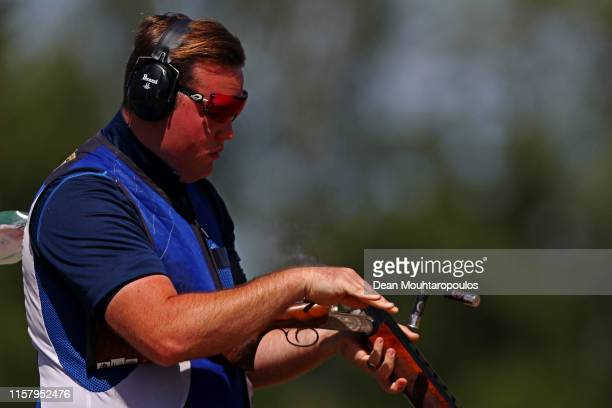 Matthew John CowardHolley of Great Britain or Team GB competes during the Mixed Team Shotgun Trap Qualifications event during Day 4 of the 2nd...