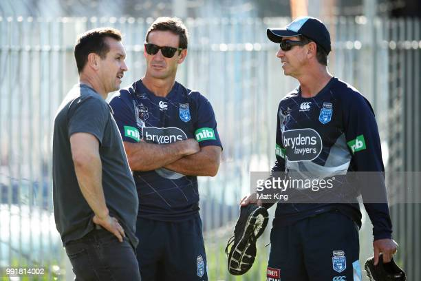 Matthew Johns Andrew Johns and Greg Alexander talk during a New South Wales Blues State of Origin training session at NSWRL Centre of Excellence...