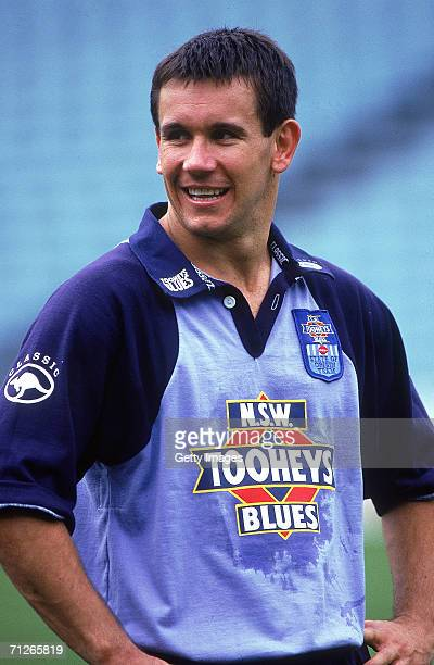 Matthew Johns of the Blues looks on during a NSW Blues training session at the Sydney Football Stadium 1995 in Sydney Australia