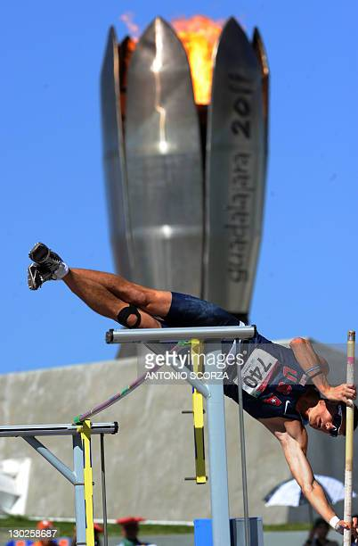 Matthew Johnson jumps in the Men's Pole Vault Decathlon competition during the XVI Pan-American Games in Guadalajara, Mexico, on October 25, 2011....