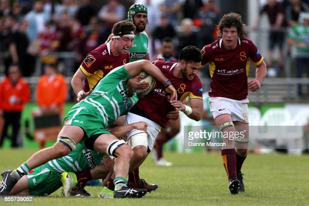 Matthew Johnson of Southland is tackled during the round seven Mitre 10 Cup match between Southland and Manawatu on September 30, 2017 in...