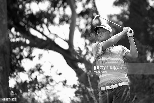 Matthew Jones of Australia plays a tee shot on the 2nd hole during day two of the Australian Open at the Australian Golf Club on November 27, 2015 in...