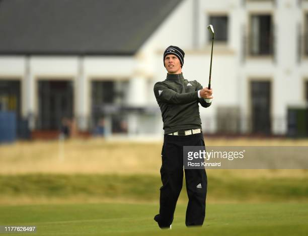 Matthew Jordan of England plays their second shot on the first hole during Day three of the Alfred Dunhill Links Championship at Carnoustie Golf...