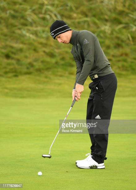 Matthew Jordan of England putts on the first hole during Day three of the Alfred Dunhill Links Championship at Carnoustie Golf Links on September 28...
