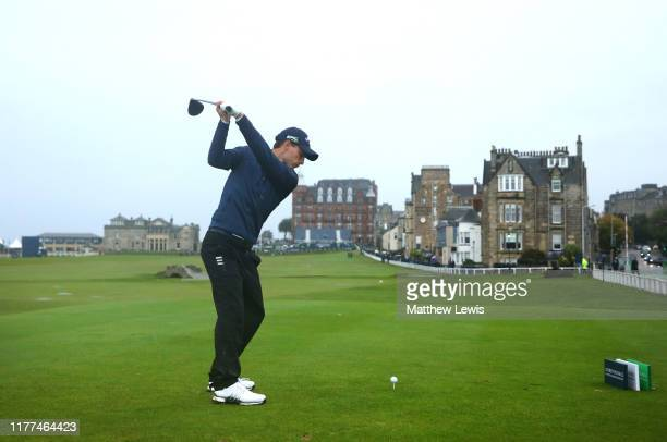 Matthew Jordan of England tees off on the 18th hole during Day two of the Alfred Dunhill Links Championship at The Old Course on September 27, 2019...