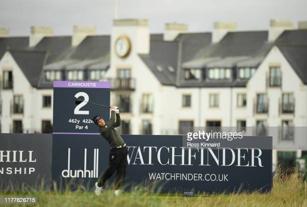 Matthew Jordan of England tees off on the 2nd hole during Day three of the Alfred Dunhill Links Championship at Carnoustie Golf Links on September 28...