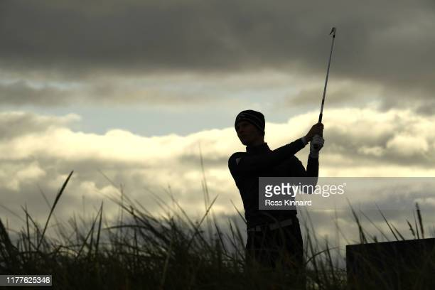Matthew Jordan of England tees off on the 3rd hole during Day three of the Alfred Dunhill Links Championship at Carnoustie Golf Links on September 28...