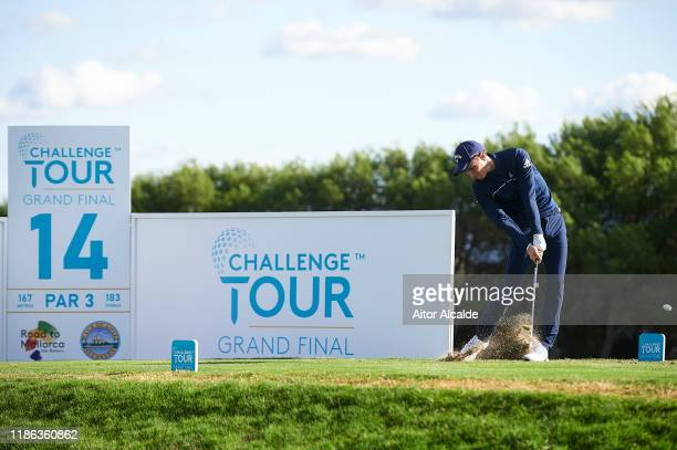 Matthew Jordan of England tees off on the fourteenth during day 2 of the Challenge Tour Grand Final at Club de Golf Alcanada on November 08 2019 in...