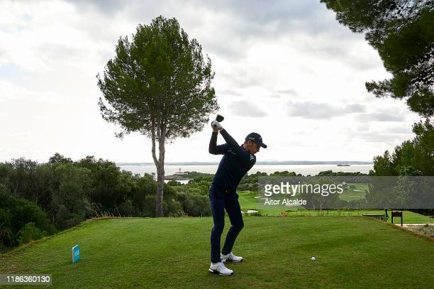 Matthew Jordan of England tees off on the thirteenth during day 2 of the Challenge Tour Grand Final at Club de Golf Alcanada on November 08 2019 in...