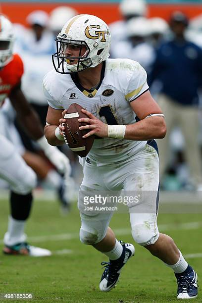 Matthew Jordan of the Georgia Tech Yellow Jackets runs out of the pocket with the ball against the Miami Hurricanes on November 21 2015 at Sun Life...
