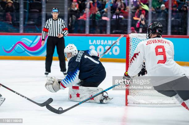 Matthew Jovanovic of Canada tries to score against Goalkeeper Dylan Silverstein of United States during Men's 6Team Tournament Semifinals Game...