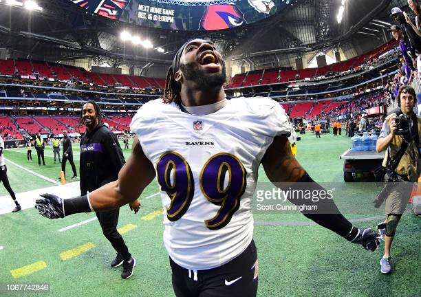 Matthew Judon of the Baltimore Ravens celebrates after the game against the Atlanta Falcons at Mercedes-Benz Stadium on December 2, 2018 in Atlanta,...