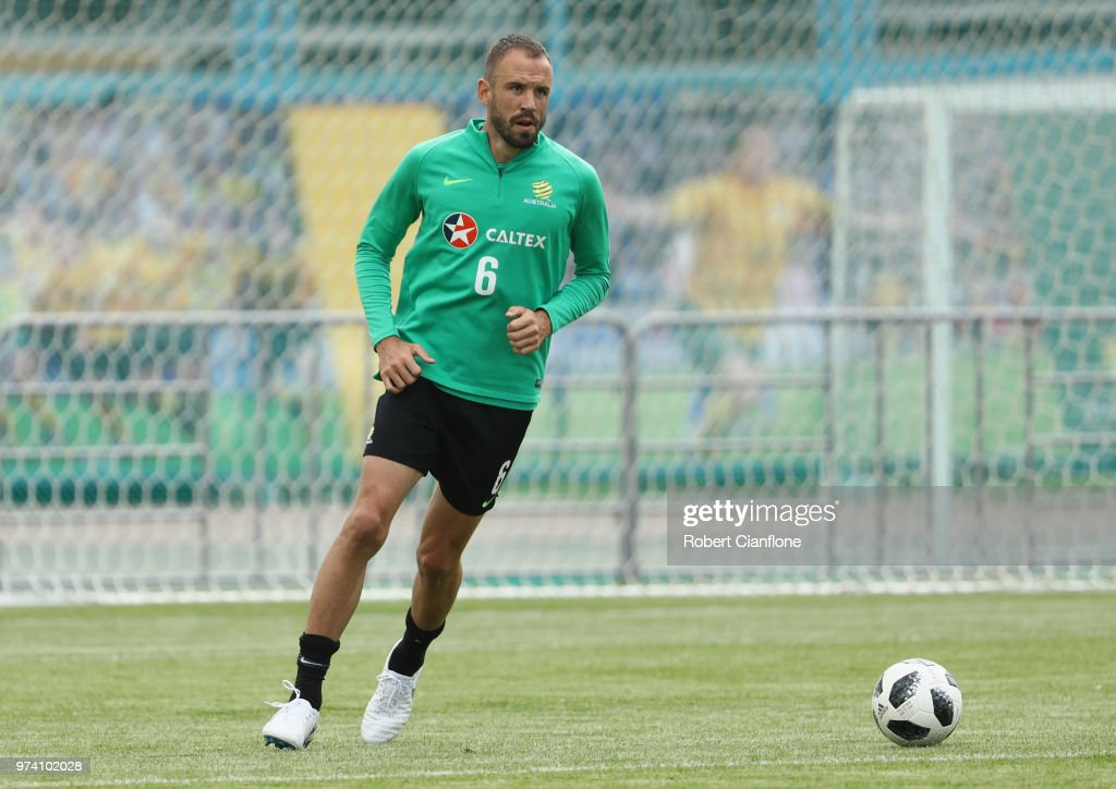 Matthew Jurman of Australia controls the ball during an Australia Socceroos training session ahead of the FIFA World Cup 2018 at Stadium Trudovye Rezervy on June 14, 2018 in Kazan, Russia.