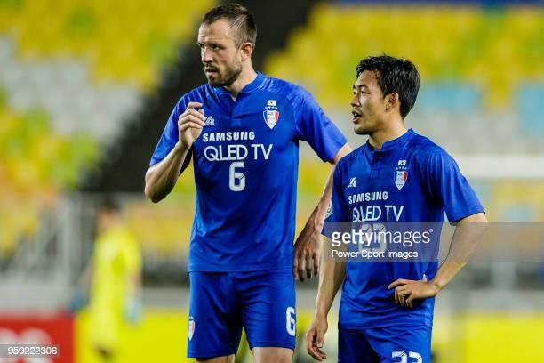 Matthew Jurman of Suwon Samsung Bluewings and Lee KiJe of Suwon Samsung Bluewings talk during the AFC Champions League 2018 Round of 16 2nd leg match...
