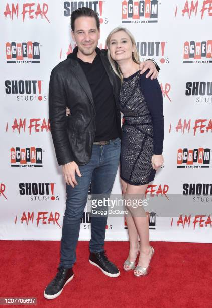 """Matthew Kavanaugh and Kristina Klebe attend the Los Angeles Premiere of Roxwell Films """"I Am Fear"""" at Laemmle Monica Film Center on February 20 2020..."""